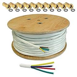 100m HB DIGITAL Quattro-Kabel Koaxial SAT 4-Fach Kabel Weiß 4-in-1 für Ultra HD 4K DVB-S / S2 DVB-C und DVB-T / T2 BK Anlagen + 50 vergoldete F-Stecker Set Gratis dazu (Quattro, Quad Kabel)