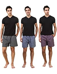 ZOLDY Pack Of 3 Multi Color Cotton Checked Boxers - B07434N2M2