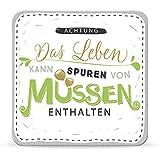 Sheepworld, Happy Life - 44586 - Untersetzer Nr. A12, Achtung Das Leben kann Spuren von Müssen enthalten, Kork, 9,5cm x 9,5cm