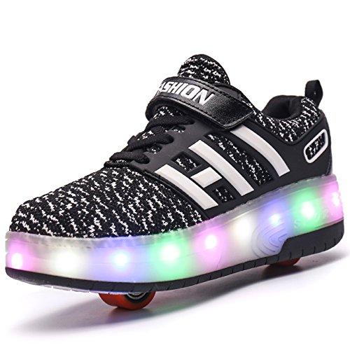 Unisex Schuhe mit Rollen Kinder Skateboard Schuhe Rollschuh Schuhe LED Light Wheels Sneakers Outdoor-Trainer für Junge Mädchen (34 EU, Zwei Räder/schwarz)
