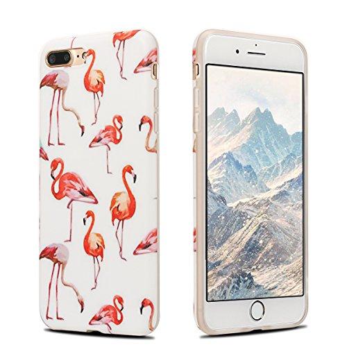 Coque iPhone 7 Plus , Coque iPhone 8 Plus TPU Etui Housse Souple Flexible Ultra Mince Silicone Gel de Protection Case Cover Mode Dessin Motif Cartoon Animaux Mignons Glace Rose Modèle pour Apple iPhon Flamingo et Blanc