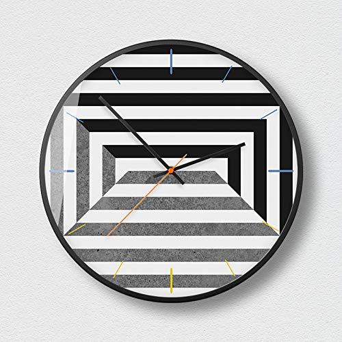 SMAQZ Wanduhr - Nordic minimalistische geometrische Mode Wanduhr, Uhr und Moderne Wohnzimmer Büro Dekoration Uhr Mysterious schwarz E 14 Zoll