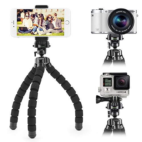 iKross Flexibles Dreibeinstativ mit Kamera-/ Handyhalter- Schwarz
