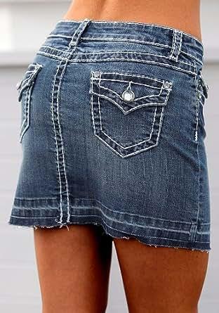 marken stretch mini jeans rock mit kontrastnaht und. Black Bedroom Furniture Sets. Home Design Ideas