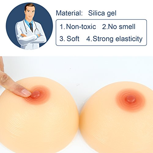 Kitchnexus Round Silicone Breast Form Nipple False Boob Bust Enhancer Crossdresser Transgender