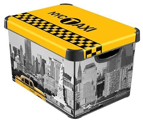 Curver 213238 Boîte Déco Stockholm L New York Polypropylène Jaune