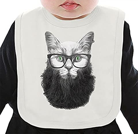 Hipster Kitty Organic Bib W/ Ties  100% Organic Ring-Spun Combed Cotton  Soft & Comfortable Bib Made W/ Eco-Friendly Materials  Unique Baby Clothing By Bang Bangin Medium