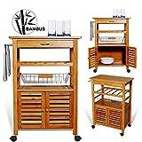 Kesser® Bambus Küchenwagen ✓ Küchenschrank ✓ Beistellwagen ✓ Servierwagen ✓ Bambus ✓ Stauraum | Stabil | Modell : KE-SW-01