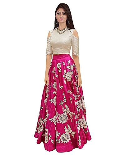 Vaankosh Women's Semi- Stitched Embroidered Lehenga - (Pink)