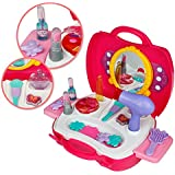 Kit de maquillaje, Role Play Set, maquillaje pretend rosa princesa regalo de Navidad para niños 3 4 5 6 años