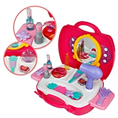 Idea Regalo - Set Bellezza Kit del make up Fingere il trucco Principessa rosa Regalo di Natale per bambini 3 4 5 6 anni