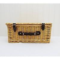 Tradizionale con cesto di vimini (piccolo) con cinghie–Ideale per Picnic, arti e mestieri e di giocattolo–idea regalo di natale
