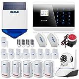 KERUI 8218G Alarme Maison GSM/RTC, Capteur de Porte d'entrée de fenêtre de système d'alarme à la Maison sans Fil - caméra IP, Android iOS APP