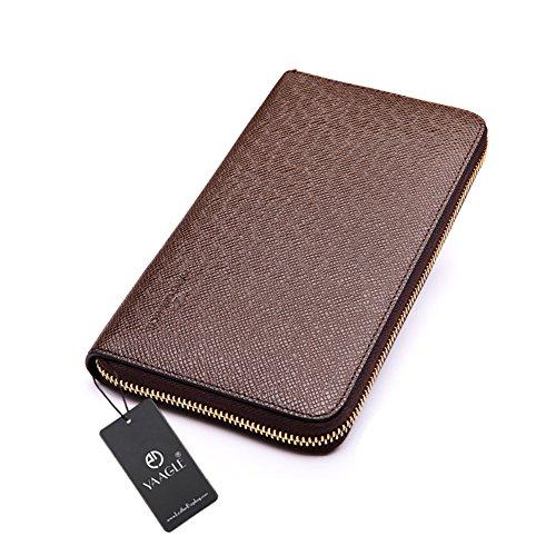 YAAGLE Neu Herren lang Abschnitt Geldbeutel europäisch Business Taschen Handgepäck Brieftasche Clutches-kaffee kaffee