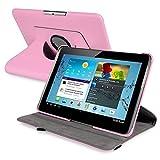 SODIAL(R) rose Boitier pivotant a 360 degres en cuir pour 10,1 pouces Samsung Galaxy Tab 2 P5100 / P5110