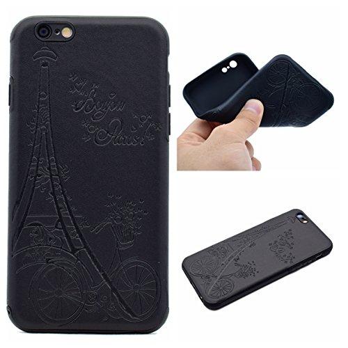 iPhone 6 4.7 Coque, Voguecase TPU avec Absorption de Choc, Etui Silicone Souple Transparent, Légère / Ajustement Parfait Coque Shell Housse Cover pour Apple iPhone 6/6S 4.7 (Fleurs de Datura-Noir)+ Gr Vélo-Noir