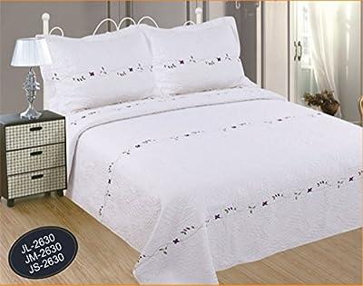 ForenTex- Colcha Boutí Cosida y Bordada, (J-2630), Flores moradas, colcha barata, set de cama, ropa de cama. Por cada 2 colchas o mantas paga solo un envío (o colcha y manta), descuento equivalente antes de finalizar la compra.