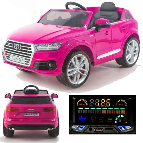 Audi Q7 Quattro SUV Elektro Kinderauto Kinderfahrzeug Ride-On 12V Kinder Elektroauto (Pink/Rosa)