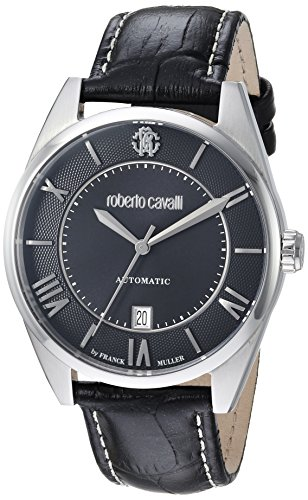 Roberto Cavalli by Franck Muller Men's 'CLASSIC' Swiss Automatic Stainless Steel and Leather Casual Watch, Color:Black (Model: RV1G013L0026)