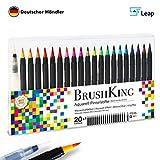 BrushKing - Brush Pen Set Pinselstifte. Wassermalpinsel Stifte mit 20 strahlenden Farben und einem befüllbaren Wassertankpinsel