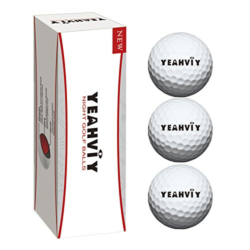 (3 Pack) Yeahviy Night Golfbälle,Night Glow Golf Ball Professional Praxis Golfbälle für Neuheit Kinder Geschenk,Ultra Bright Long Lasting Reusable Bright (3 Pack)