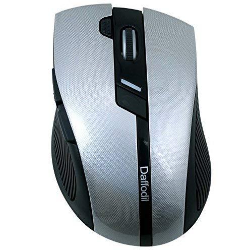 Daffodil WMS615 - Mouse senza fili per Office o Gaming con DPI regolabile 60/800/1000/1200/1600 - Alimentato da 1 batteria AAA (inclusa), nero