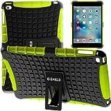G-Shield Apple iPad Mini 4 Hülle Silikon mit Ständer Stoßfest Schutzhülle Dünn Tasche Hybrid Armor Cover Case Etui Tablethülle mit Displayschutzfolie und Stylus - Grün