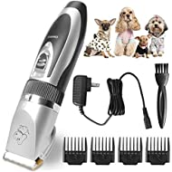 VOONEEN Dog Grooming Clippers, Pet Hair Remover Clippers Rechargeable Cordless Dog Hair Trimmer Accessories Professional Tool with 4 Comb Guides Scissors for Dogs Cats & Other Animals Low Noise