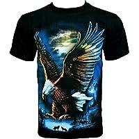 Rock Chang T-Shirt Eagle Aquila Uomo Nero R495 - Indiano Dagger