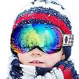Snowledge Skibrille Kinder Ski Goggles Kids Rahmenlos Wechselobjektive Uvex Skibrille Verspiegelt Anti-Beschlag Helmkompatible OTG für Jugendliche von 8-15 Jahren (REVO Grün)