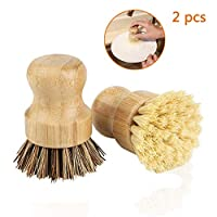 Bamboo Dish Brush, Bebester 2pcs Washing Up Scrubbing Brush for Dishes Cast Iron Pots Pans in Bathroom Kitchen Sink Household Cleaning
