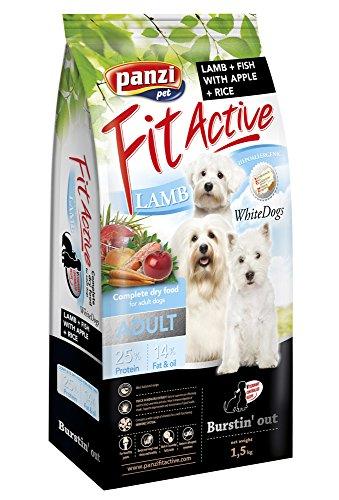 Panzi FitActive Premium Hundefutter Erwachsener weiße Hunde Lamm&Fisch, 1er Pack (1 x - Hundefutter Fell