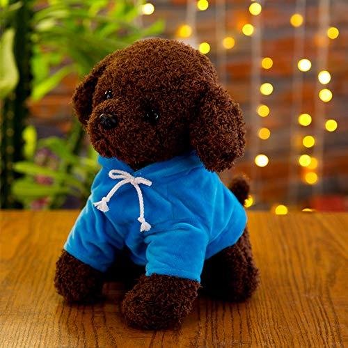 SJZC Toy Simulation Teddy Dog Roll Peluche Toy Dog Vestiti Ragdoll Bambino Regalo,Blue,30cm