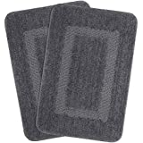 Combo of Saral Home Soft Microfiber Bathmat Set of 2 pc -45x70 cm (Silver)