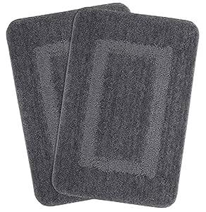 Saral Home Soft Microfiber Bathmat, 45x70cm (Grey) - Set of 2