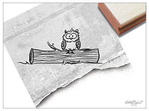 Stempel - Kinderstempel Eule auf Baumstamm - Motivstempel Bildstempel Geschenk für Kinder - Kita Schule Einschulung aumalen Deko - von zAcheR-fineT