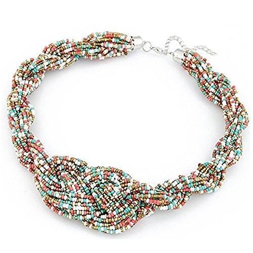 Damen Bohemian Stil handgefertigte Geknotete Halskette Perlen Halsband (Multifarbe) (X-stil-crossover)