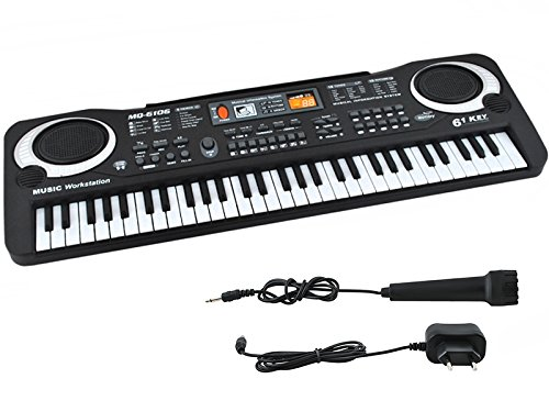 Iso Trade Einsteiger Keyboard Mikrofon 61 Tasten Netzteil Lernfunktion #4687