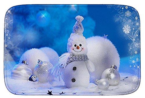 Preisvergleich Produktbild Lukis Fußmatte für Innen- und Außen-Bereich 60x90cm Schmutzfangmatte Weihnachten Rutschfester und Waschbarer Fußabstreifer Schneemann-1