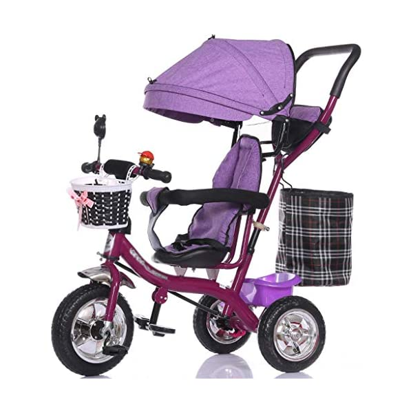 Multifunctional Child Tricycle Trolley 1-3 - 5 Years Old Bike Baby Bicycle Baby Car (Color : B) DUOER-Pushchairs Features assembled canopies without worrying about rain and sunshine,Safety features and safety belts are provided for safety. The pedal can be folded for more convenient use: the pedal can be folded to make travel more convenient. Upgrade the thickened sponge pillow to protect the baby's head and make the baby ride safer. 1