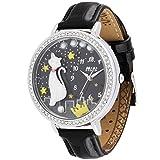 Lindo Gato de Dibujos Animados Cielo Estrellas lado Decoración de Corona Lujo Correa de Cuero Cuarzo Relojes de Pulsera para Mujeres Niñas, Plateado