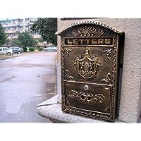 Amoylimai Boîte aux lettres en fonte de 5,4 kg, montage mural Bronze ancien