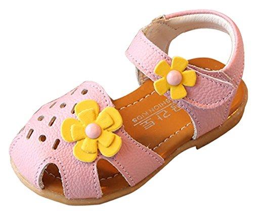 EOZY Babyschuhe Mädchen Sommer Sandalen Blumen Lauflernschuhe Pink