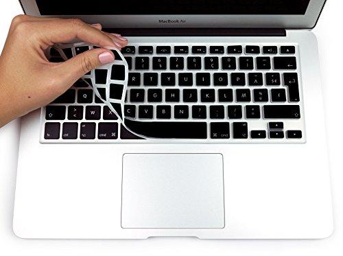 """MyGadget Coque Clavier AZERTY pour Apple Macbook Air 13"""" / Pro 13 & 15 Pouces - Protection poussière Silicone Flexible - Couverture Ultra Fine en Noir"""