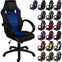 """RACEMASTER® """"GS Series"""" - Silla de escritorio/Gaming silla de despacho - Mecanismo de inclinación y elevación Homolación SGS - Disponible en 20 colores - silla de oficina Negro/azul"""