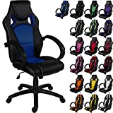 "RACEMASTER® Racing Bürostuhl ""GS Series"" Gaming Chair Gamer Stuhl in 20 Varianten Drehstuhl Gaslift SGS geprüft Schreibtischstuhl Wippmechanik Blau"