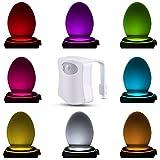 InteTech LED Inodoro WC Noche ligero Lámpara con ligero sensor Movimiento sensor Batería operado Ligero Baño ligero Baños iluminación apliques para niños padres Cuarto de baño casa [Clase de eficiencia energética A+++]