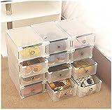 vinteky® 10x Organizer der Schuhe Aufbewahrungsbox/Schuhbox mit rangeme Kunststoff transparent faltbar stapelbar Speicherung ca. 30x 18,5x 9,5cm