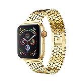 LCLrute Apple Watch Series 4 40mm Edelstahl Uhrarmband Ersatzarmband Watch Band mit Schmetterling Schließe für Apple Watch Series 4 40mm (Gold)