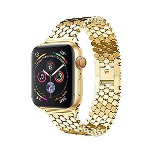 Wawer Apple Watch Series 4 Armband Ersatz Edelstahl Fischschuppen Uhrenarmband Schlaufe für Apple Watch Series 4 40mm / 44mm